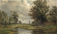 a farmer and cattle by a pond by jan willem van borselen