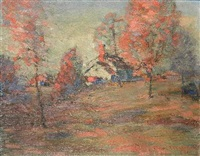house in fall landscape by carl frederick gaertner