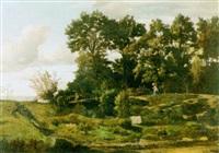sommerliche landschaft mit kleinem bachbett by charles-claude bachelier