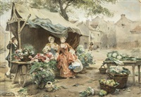 the flower market by louis marie de schryver