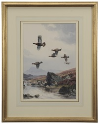 grouse crossing the burn by john cyril harrison