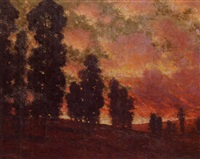 landscape with sun setting by paul mersereau