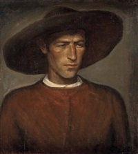 junger tiroler (+ sitzporträt eines mannes, verso) by ludwig angerer