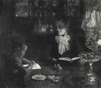 interior med en lille pige der skriver brev i lampelys by aksel frederiksen