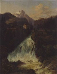 a waterfall near bad gastein, austria by joseph altenkopf