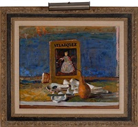 still life of a pear, oyster shells and a book titled velazquez by john robinson frazier