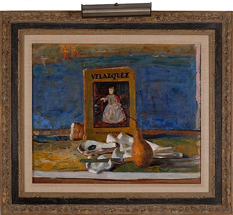 still life of a pear oyster shells and a book titled velazquez by john robinson frazier