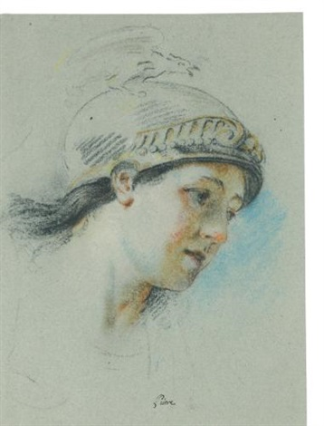 a head study of a female mythological figure wearing a helmet by jean baptiste marie pierre