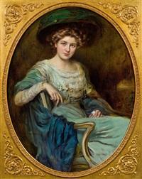 elegante dame im lehnstuhl by caspar ritter