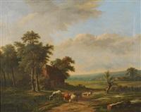 bergers et troupeaux dans un paysage by charles edmond renault