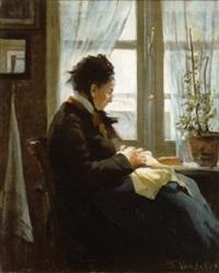 vieille femme cousant devant la fenêtre by florimond (flori-marie) van acker