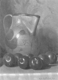 stilleben mit pflaumen und krug auf einem tisch by rino gaspare battaini