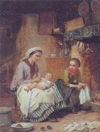 interior med mor, der klæder sit lille barn på, medens storesoster ser på by charles auguste romain lobbedez