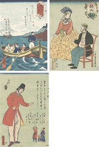 foreign people in a boat (7 works) by utagawa yoshitomi