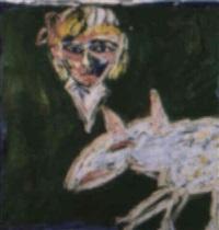 girl and bullterrier dog by davida allen