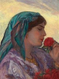 jeune algéroise à la rose rouge by salomon taib