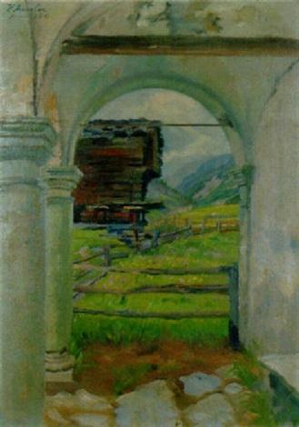 blick aus einer kapellenvorhalle bei zermatt by karl anneler