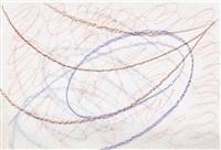ein violetter und brauner schwung, von roten spiralformen gerahmt by hermann glöckner