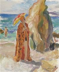 femme à l'ombrelle sur la plage by henri lebasque
