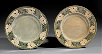 plates (pair) (decorated by anna frances simpson) by newcomb college pottery