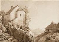 häuser in bergiger campagna, im hintergrund mit fernblick auf eine stadt by rodolphe töpffer
