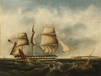frigate entering a harbor by richard b. spencer