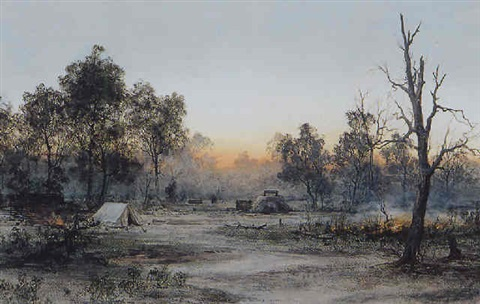 evening camp scene by william joseph wadham