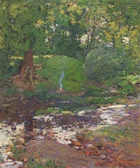 campfire by the creek by william forsyth
