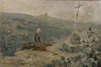 jeune bretonne priant au retour des champs by paul simons