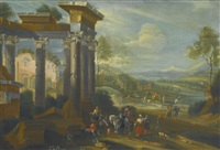extensive landscape with travellers resting amongst classical ruins by mathys schoevaerdts