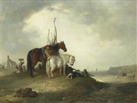 two horses and a dog resting by the sea shore by edward robert smythe