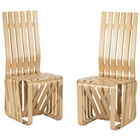 high sticking chairs (set of 8) by frank gehry