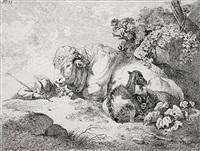 schlummernder hirt, stier, ziege und schaf by friedrich (maler müller) müller