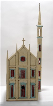 church with steeple bird house by aldo piacenza