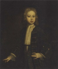 portrait of a boy in a silver-trimmed jacket and waistcoat by charles d' agar