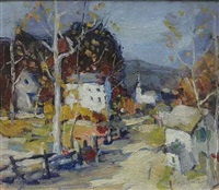 village street scene by carl frederick gaertner