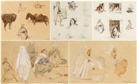 scènes algéroises et études de personnages (5 works) by theodore leblanc