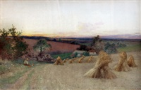 harvest scene with stooks of corn by leopold rivers