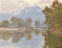 morning, murray river by ernest william buckmaster