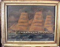 three masted sailing ship rounding gay head by winfield scott