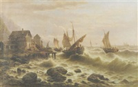 mediterranean fishing boats coming into port by a. dinardo
