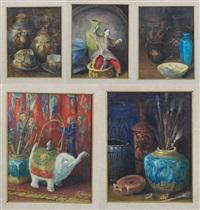 nature morte con ceramiche orientali etrusche (5 works) by gennaro favai