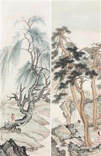 松溪高士 (二帧) 镜片 设色纸本 (landscape) by chen shaomei