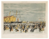 souvenir of the coldest winter on record. scene on the delaware river at phila. during the severe winter of by james queen
