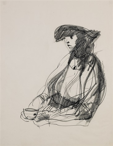portrait of a woman with a cup by john altoon