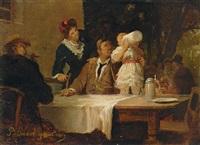 der erste schluck bier: familie im biergarten by peter baumgartner