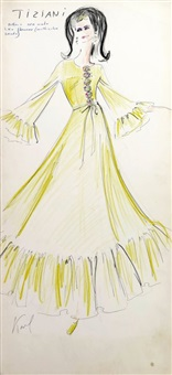 original fashion drawing by karl lagerfeld