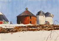 silos in winter by loring w. coleman