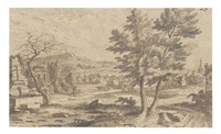 a village in a landscape (+ a village with a bridge in the foreground, verso) by adriaen van der cabel