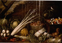 still life with cabbages, asparagus, a basket of chestnuts, celery, mushrooms and other vegetables, a squirrel eating a chestnut and a finch on a branch, a landscape beyond by giacomo legi
